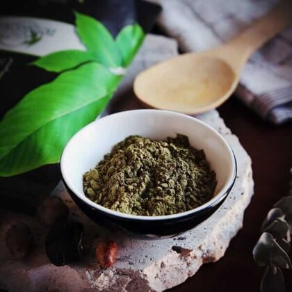kratom powder in a bowl and with a spoon and kratom ban article