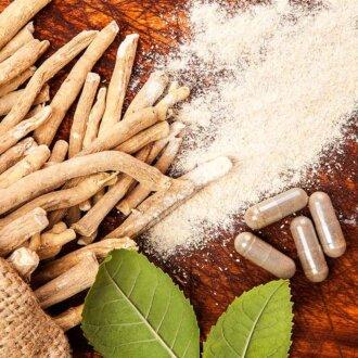 Ashwagandha root, powder and capsules